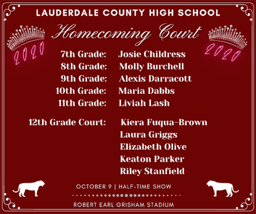 Homecoming Court: Childress, Burchell, Darracott, Dabbs, Lash, K. Fuqua-Brown, L. Griggs, E. Olive, K. Parker, R. Stanfield