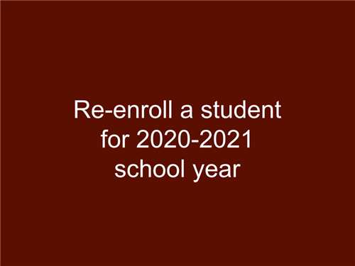 Re-enroll a student for 20-21