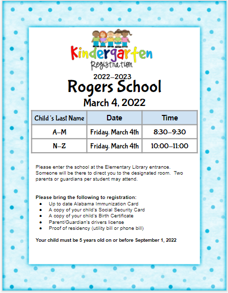 Rogers School Kindergarten Registration